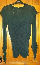 ONE OFF Black lacey ruched Gothic top lolita Victoriana steampunk 10 12