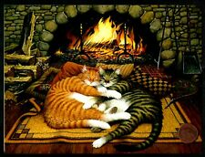 tabby Cats Sleeping Fireplace Flames By Wysocki Blank Greeting Note Card