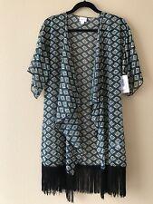 Small AZTEC MONROE Lularoe S Kimono Wrap Thin BLACK FRINGE MULTICOLOR BLACK