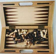 Special!!! Deluxe Quality Wooden Chess Checker & Backgammon Set - Fold in