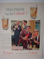 1954 Calvert Rye Whiskey Which Highball has Calvert Club Vintage Print Ad 00268
