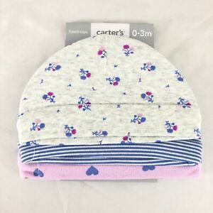 Carters Baby Girls Caps 3 Pack Floral Stripes Hearts Gray Pink Purple 0-3 Months