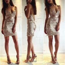 Sequin Strappy Plunge bodycon dress ribbon waist nude lace MEDIUM