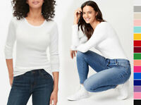 Women's Premium Cotton Basic Long Sleeve T-Shirt Top Soft Knit Solids Crew Neck