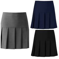 Girls All Round Pleated Skirt Zip Drop Waist Size School Girls 9-16 Women 10-20