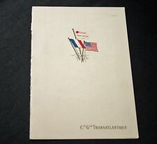 CGT French Line SS FRANCE Lunch Menu 9 January 1968