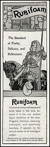 1898 Rubifoam toilet table liquid dentifrice E W Hoyt Co vintage art print ad S9
