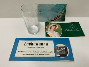 LOT Phoebe Snow DL&W Railroad Collection Engraved Drink Glass Brochures Postcard
