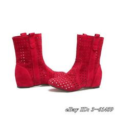 Hohl Stiefeletten Damen Sommer Boots Ankle Boots Hidden Heels Plus Size Gr33-48