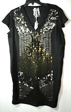 BLACK LADIES FORMAL PARTY EVENING TUNIC DRESS SIZE 8/36 DOROTHY PERKINS SEQUINS