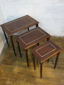 MODERN MAHOGANY & BRASS INLAID EFFECT NEST OF 3 TABLE's.