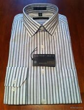 Geoffrey Beene Men's Fitted Point Dress Shirt M 15 32/33 Courrant White Stripes