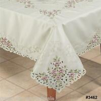 "Embroidered Purple Rose Floral Cutwork Tablecloth 70x120"" & 12 Napkins  #3462"