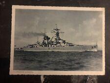 1944 Hamburg Germany Feldpost RPPC Postcard Battlecruiser Lützow Kriegsmarine