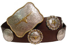 Houston Western Genuine Leather Concho Cowboy Belt