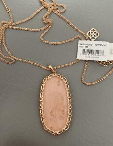 New Kendra Scott Reid Macrame Necklace In Blush Wood $128.00