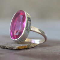Oval Cut Faceted Pink Tourmaline Quartz 925 Sterling Silver Handmade Ring Size 8