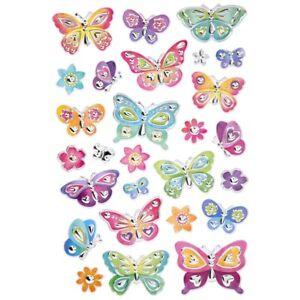 Puffy  Foil Butterflies Flower Planner Stickers DIY Crafts Scrapbook Spring