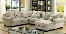 NEW Living Family Room Furniture Beige Microfiber Sofa Couch Sectional Set ICAK