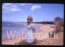 1970s Kodachrome Photo slide  Australia #13 Cowes Camp Lady in dress