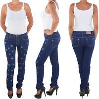 Damen Hose Röhrenjeans Hüft Stretch Jeans Blau Sterne Übergröße bis 4XL / 48