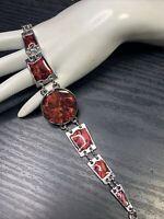 """Vintage panel link bracelet Silver tone Red /pink Abalone Shell Bracelet 8-9"""""""