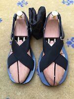 Gucci Mens Sandals Thongs Flip Flop Black Canvas Leather Shoes UK 7 US 8 EU 41
