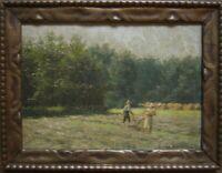 ::LEOPOLD WENZEL *1885 ELBERFELD -1972 ÖLBILD °HEUERNTE IN ERKRATH WIDMUNG ANTIK