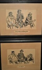 "2 1905 Baseball Prints Charles Dana Gibson ""2 Strikes & Bases Full & Fanned Out"""