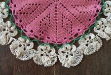 """Vintage Pink Pansies Crochet Lace Plate Doily Raised Flowers 10"""""""