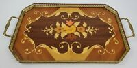 Vintage Italian Marquetry Inlaid Wood Tray With Brass Gallery And Handles  16.5""