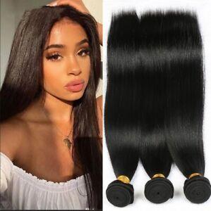 Straight Human Hair 3 Bundles/300G Brazilian Virgin hair Extensions Weaving Weft