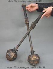 "25""Old China Ancient kung fu Martial Bronze Dragon Head Hammer Warhammer Statue"