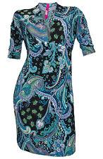Minikleid Gr. 36 S schwarz türkis bunt Fledermausärmel Druck Kleid
