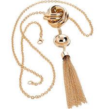 Fashion Jewellery Color Dorado con Borlas Trenzado Collar de Abalorios de largo de montaje de enlace