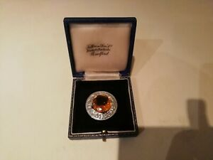 Thistle Design Plaid Brooch With Orange Stone