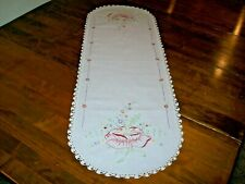 Vintage Embroidered Dresser Scarf/Table Runner w/Rusty Peach Rose   (#2)