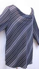 Fashion Bug Stunning Black w/ White Pin Stripes Pullover Blouse SZ 18 - 20 EUC