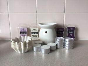 Wax Melt Warmer + 4 Woodwick Wax Melts + Tea Lights Bundle