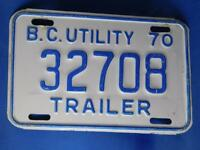 BRITISH COLUMBIA LICENSE PLATE UTILITY TRAILER  1970 32708 CANADA  VINTAGE  SIGN