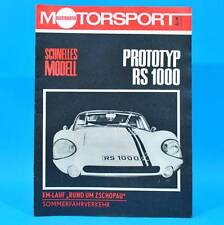 DDR Illustrierter Motorsport IMS 11/1969 Prototyp RS 1000 hallensia mobile F