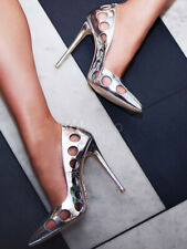Silver High Heels Pointed Toe Heels Patent PU Cut Out Slip On Pumps For Women 7