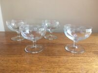 SET OF 4 Vintage Flat Champagne Glasses, Etched Hatches and Dots