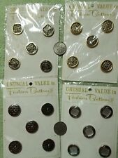 Vintage Metal Buttons On Cards Gold Tone Silver Tone lot