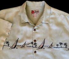 Hilo Hattie Hawaiian Aloha Shirt Embroidered Sailboats Linen Rayon Size XL