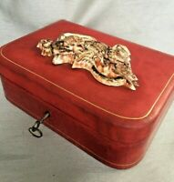 Rare Vintage Japanese Red Leather Box Ceramic Gilt Dragon Lid