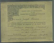 1878 SCIENCE & ART DEPARTMENT SECOND GRADE CERTIFICATE AWARD CARD