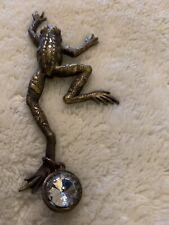 Vintage Frog Brooch Pin Amphibian Signed Jj Jonette Jewelry Climbing Silver Tone