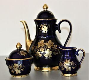 Bayreuther Waldsassen Kaffeekern Kobaltblau/gold Handarbeit