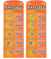 10 x CR1025  3V Lithium Knopfzelle 30 mAh (2 Blistercard a 5 Batterien )EASTCELL